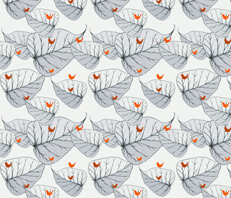 Leafs & Birds fabric by dorolimited on Spoonflower - custom fabric
