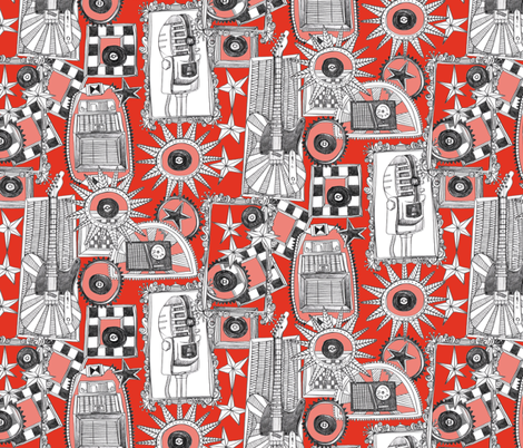 rock and roll red fabric by scrummy on Spoonflower - custom fabric