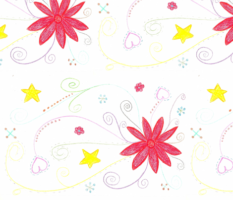 flower_drawing-e fabric by saverill73 on Spoonflower - custom fabric