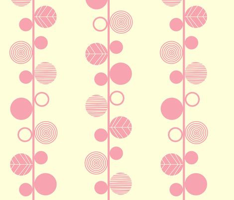 linear leaves bright wallpaper cream pink fabric by amel24 on Spoonflower - custom fabric