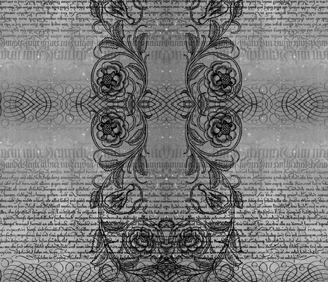 Just the text, scrollwork, and roses (gray) fabric by jenithea on Spoonflower - custom fabric