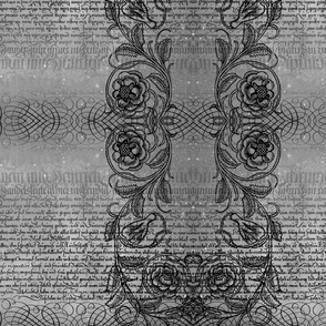 Just the text, scrollwork, and roses (gray)