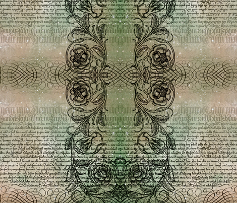 Just the text, scrollwork, and roses (greenish) fabric by jenithea on Spoonflower - custom fabric
