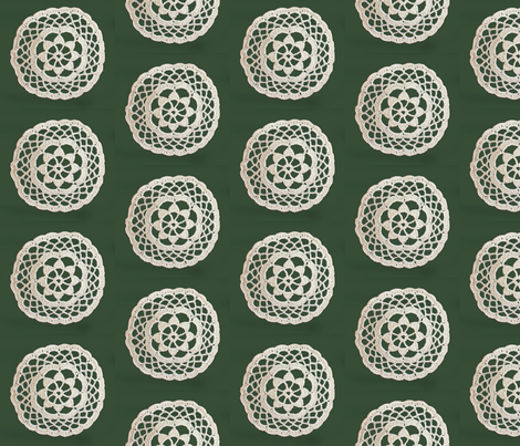 lace_circle_on_green_2 fabric by vinkeli on Spoonflower - custom fabric