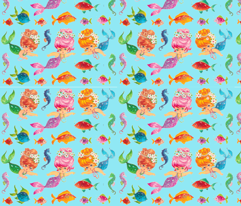 Mermaid Aqua Sparkles sea Paris Bebe Fabrics fabric by parisbebe on Spoonflower - custom fabric