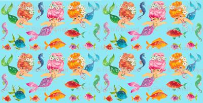 Mermaid Aqua Sparkles sea Paris Bebe Fabrics