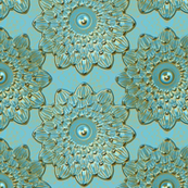 Floral Antique teal patina