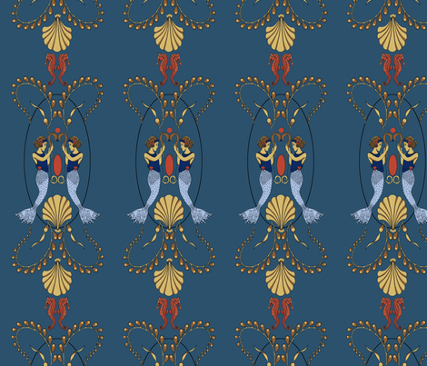 Mermaidwallpaper_blue fabric by yvonne_herbst on Spoonflower - custom fabric