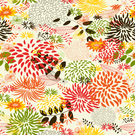 Garden. Warm hue. fabric by innaogando on Spoonflower - custom fabric