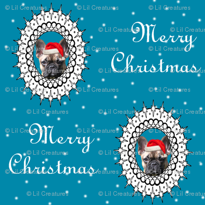 christmas french bulldog fabric
