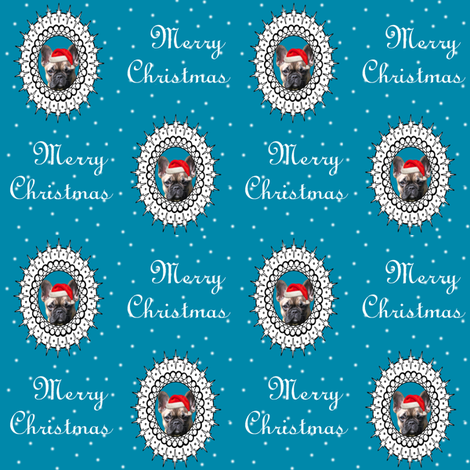 christmas french bulldog fabric fabric by lil_creatures on Spoonflower - custom fabric