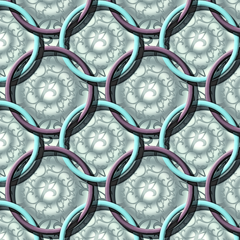 Hoops Antique teal purple grey