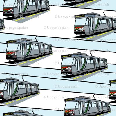 Modern Tram Route 75 - Small Blue Stripe