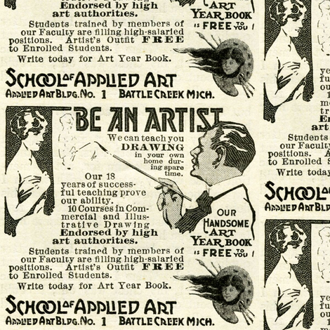 1918 Art School Advertisement fabric by edsel2084 on Spoonflower - custom fabric