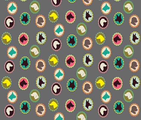 Dog cameos fabric by ravynka on Spoonflower - custom fabric