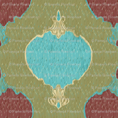 romano ikat 3 green red turquoise