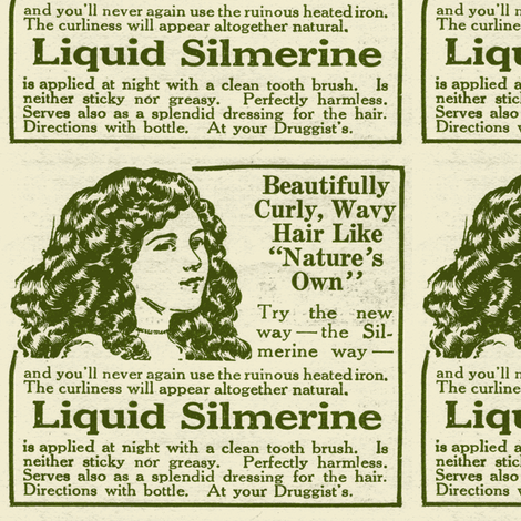 Liquid Silmerine Hair Care 1918 advertisement fabric by edsel2084 on Spoonflower - custom fabric