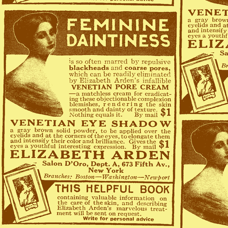 Feminine Daintiness 1918 cosmetics ad fabric by edsel2084 on Spoonflower - custom fabric
