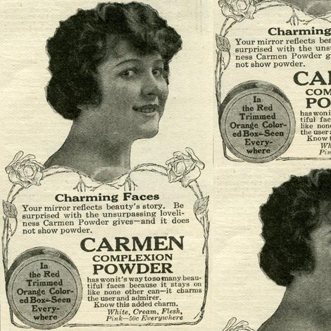 1918 Carmen Complexion Powder cosmetics advertisement fabric by edsel2084 on Spoonflower - custom fabric