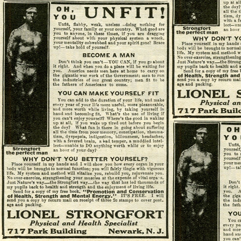 Oh You Unfit, Flabby, Weak Do-Nothing Man 1918 Ad (b&w) fabric by edsel2084 on Spoonflower - custom fabric