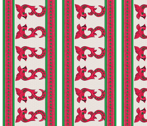 Cardinal Border fabric by dianne_annelli on Spoonflower - custom fabric