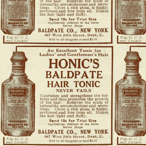 Honic's Baldpate Hair Tonic 1918 advertisement fabric by edsel2084 on Spoonflower - custom fabric