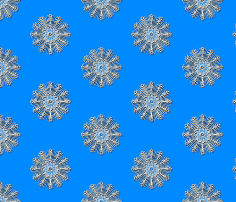 Medallion chrome blue background fabric by joanmclemore on Spoonflower - custom fabric