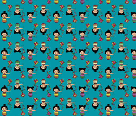 kokeshi kite fabric by scrummy on Spoonflower - custom fabric