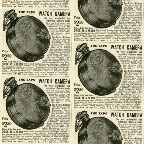 1918 Pocket Watch Camera advertisemen fabric by edsel2084 on Spoonflower - custom fabric