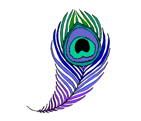 Giant peacock feather on white fabric by beesocks on Spoonflower - custom fabric