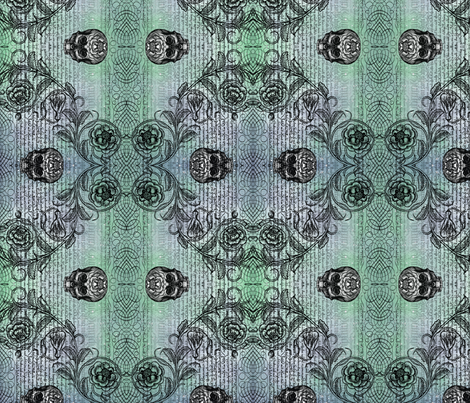 Diamond Skull Rose (Peacock) fabric by jenithea on Spoonflower - custom fabric