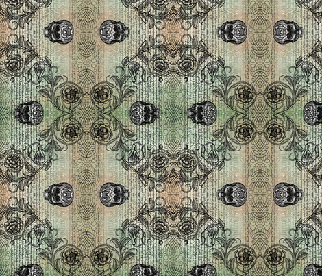 Diamond Skull Rose (Mossy) fabric by jenithea on Spoonflower - custom fabric