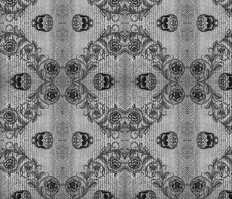 Diamond Skull Rose (Gray) fabric by jenithea on Spoonflower - custom fabric