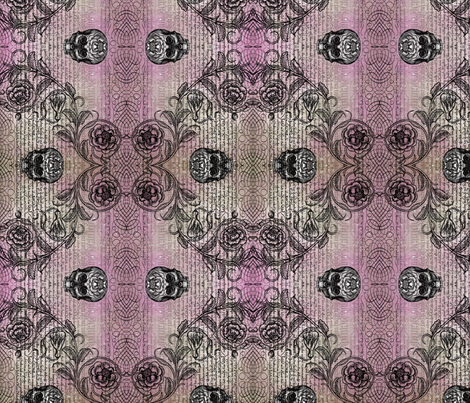 Diamond Skull Rose (Pinkish) fabric by jenithea on Spoonflower - custom fabric