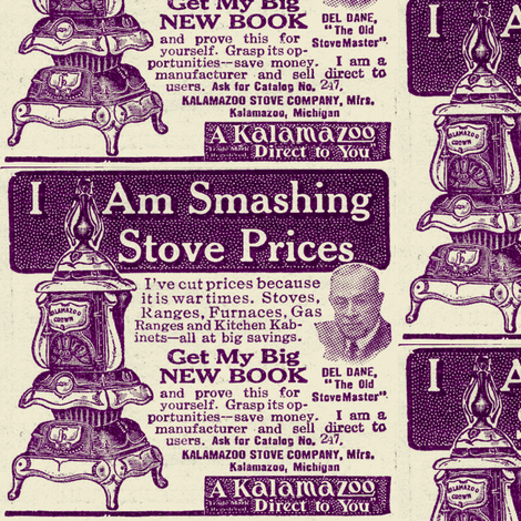 KalamaZoo Direct to You 1918 pot belly stove ad fabric by edsel2084 on Spoonflower - custom fabric