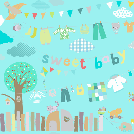 sweet baby boy aqua fabric by katarina on Spoonflower - custom fabric