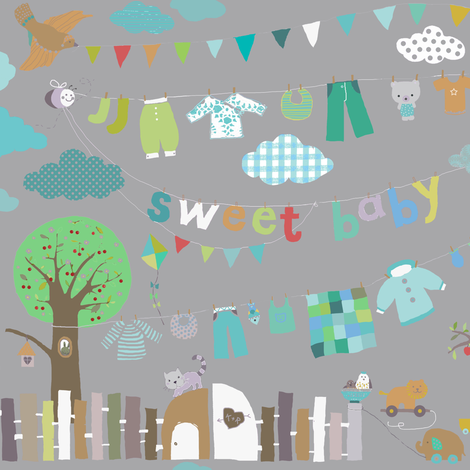 sweet baby boy in grey fabric by katarina on Spoonflower - custom fabric