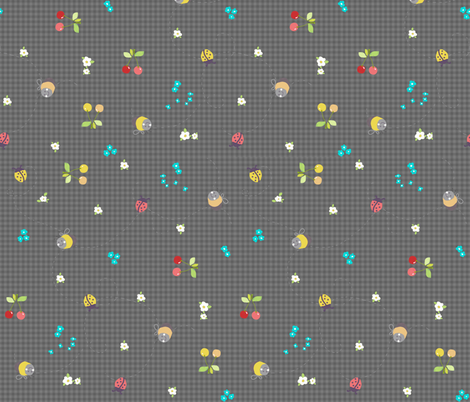 spring gingham dark grey fabric by katarina on Spoonflower - custom fabric
