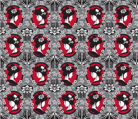 Japanese cameo fabric by cjldesigns on Spoonflower - custom fabric