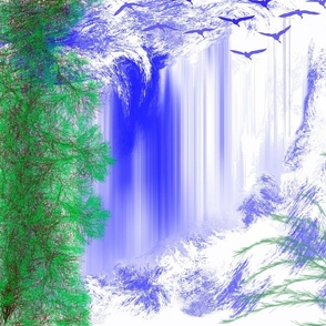 waterfall with birds