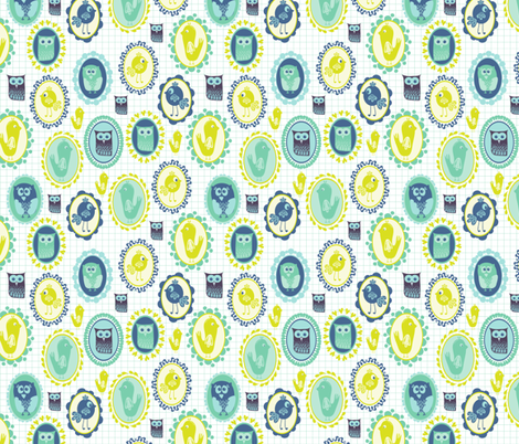 Birdy Cameo fabric by mondaland on Spoonflower - custom fabric