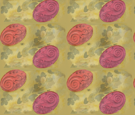 Chameleon cameo fabric by zandloopster on Spoonflower - custom fabric