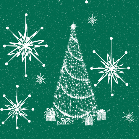 Retro tinsel star  Emerald fabric by paragonstudios on Spoonflower - custom fabric