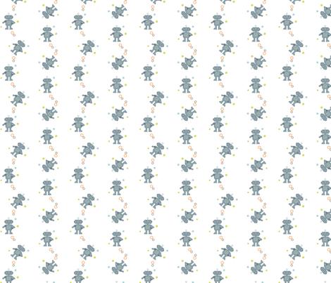Grey-white_robot fabric by amanda_lincoln on Spoonflower - custom fabric