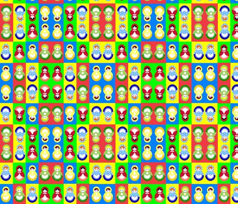 12 russian dolls - colour changed fabric by squeakyangel on Spoonflower - custom fabric