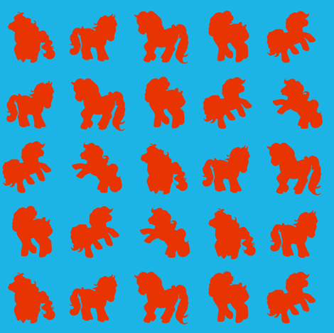 Ponies for the grown up pony fan... Red/Blue fabric by retropopsugar on Spoonflower - custom fabric
