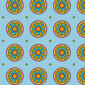 Blue flowers with green yellow and pink with a dot.