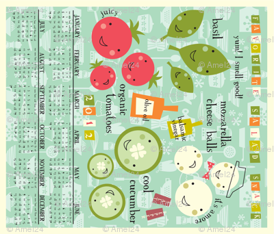 2012 calendar tea towel