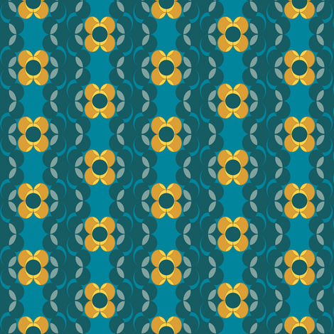 retro_ddarkhoneyblue fabric by lilliblomma on Spoonflower - custom fabric