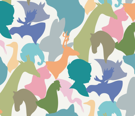 ANIMAL_silhouettes fabric by natasha_k_ on Spoonflower - custom fabric